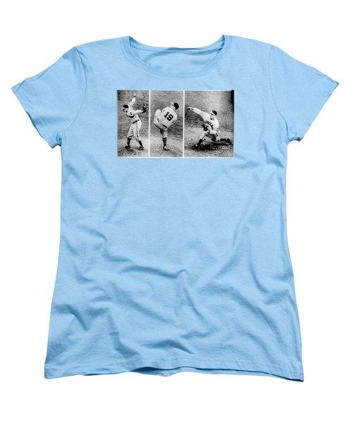 Bob Feller Pitching Women's T-Shirt (Standard Cut) by R Muirhead Art