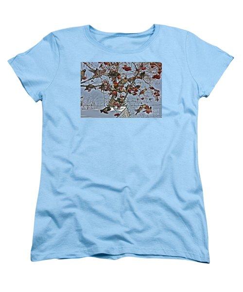 Bohemian Waxwing Feast Women's T-Shirt (Standard Cut) by Linda Bianic