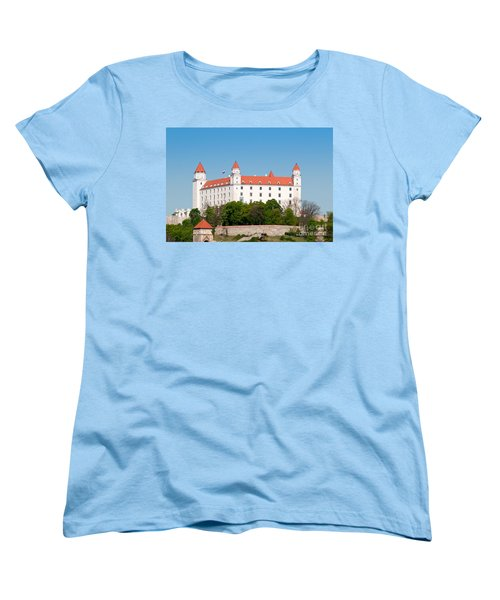 Women's T-Shirt (Standard Cut) featuring the photograph Bratislava Castle by Les Palenik