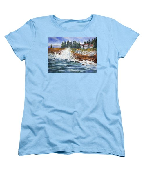 Women's T-Shirt (Standard Cut) featuring the painting Breakers At Pemaquid by Roger Rockefeller