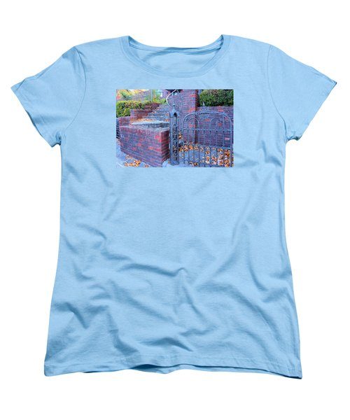 Women's T-Shirt (Standard Cut) featuring the photograph Brick Wall With Wrought Iron Gate by Janette Boyd