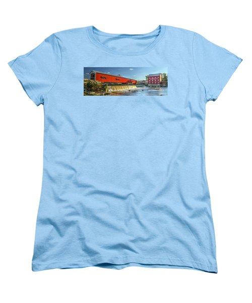 Bridgeton Bridge And Mill Women's T-Shirt (Standard Cut) by Harold Rau