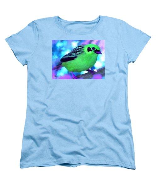 Bright Green Finch Women's T-Shirt (Standard Cut) by Bruce Nutting