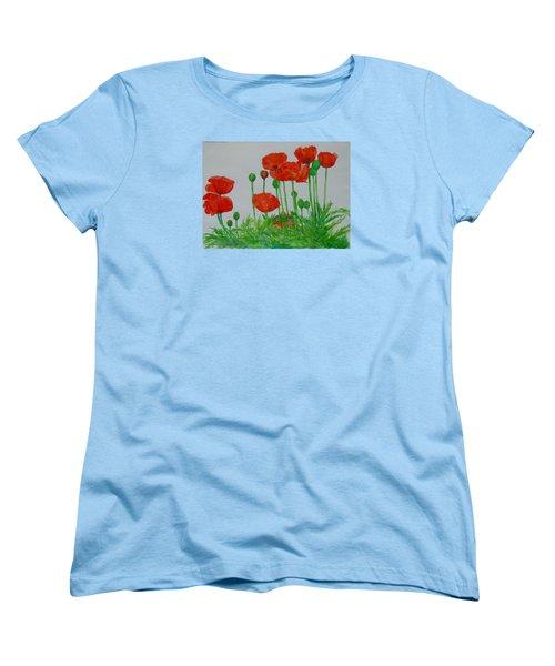 Red Poppies Colorful Flowers Original Art Painting Floral Garden Decor Artist K Joann Russell Women's T-Shirt (Standard Cut) by Elizabeth Sawyer