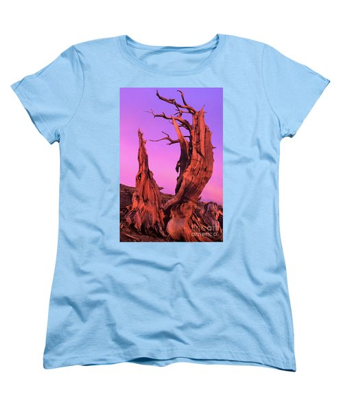 Women's T-Shirt (Standard Cut) featuring the photograph Bristlecone Pine At Sunset White Mountains Californa by Dave Welling