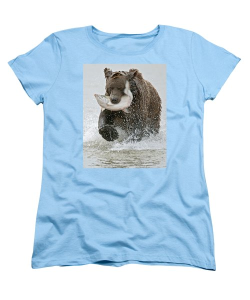 Brown Bear With Salmon Catch Women's T-Shirt (Standard Fit)
