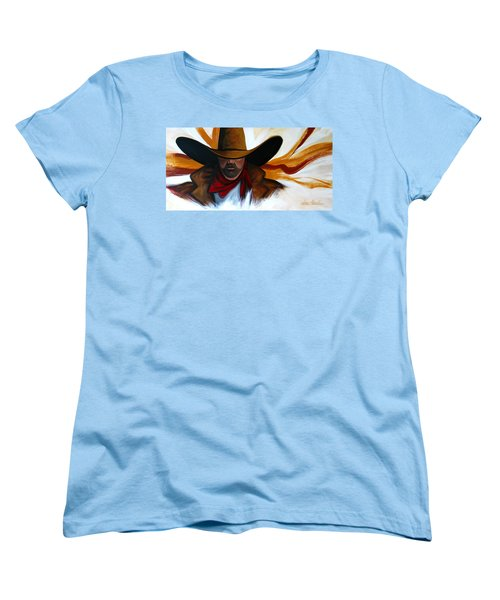 Brushstroke Cowboy #4 Women's T-Shirt (Standard Cut) by Lance Headlee