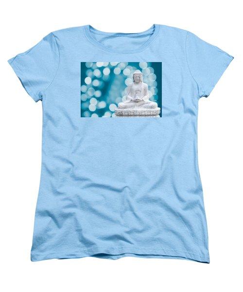 Buddha Enlightenment Blue Women's T-Shirt (Standard Cut) by Hannes Cmarits