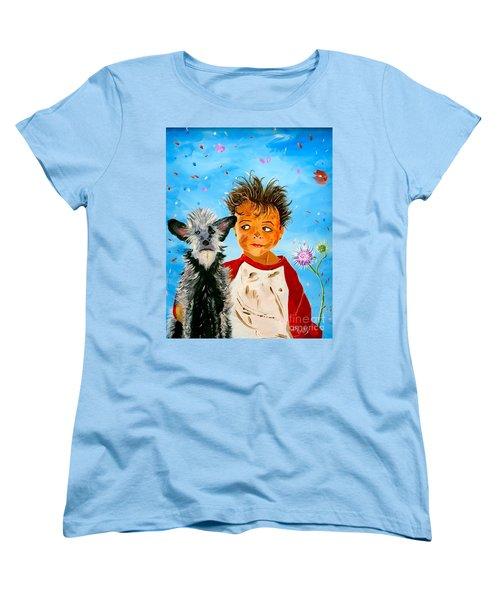 Women's T-Shirt (Standard Cut) featuring the painting Buddies by Phyllis Kaltenbach