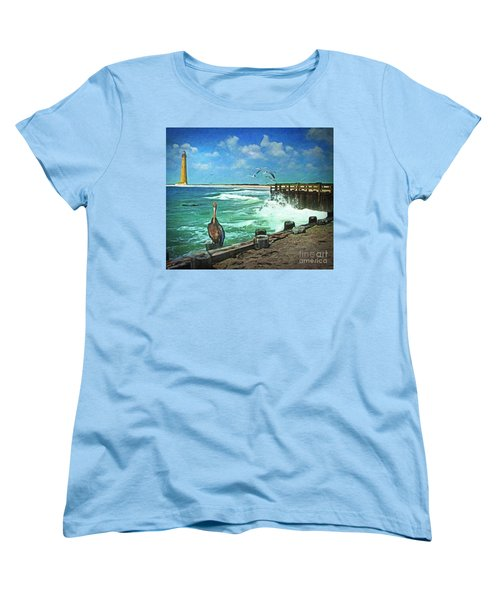 Women's T-Shirt (Standard Cut) featuring the digital art Bulkhead At Holgate Beach by Lianne Schneider