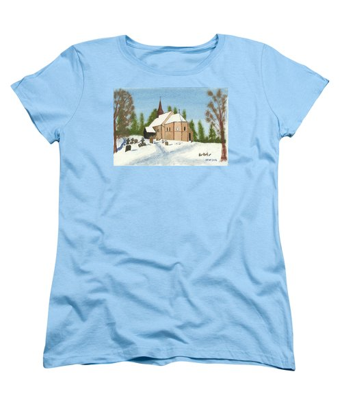 Women's T-Shirt (Standard Cut) featuring the painting Bulley Church by John Williams