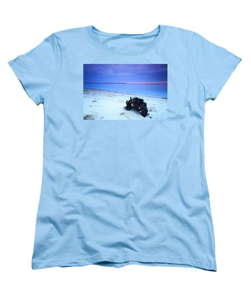Women's T-Shirt (Standard Cut) featuring the photograph Burnt Driftwood Sunset by Jennifer Casey