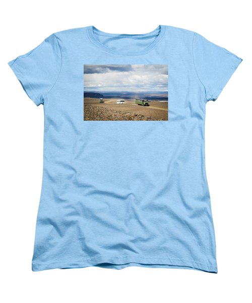 Women's T-Shirt (Standard Cut) featuring the photograph Buses Of Landmannalaugar by Peta Thames