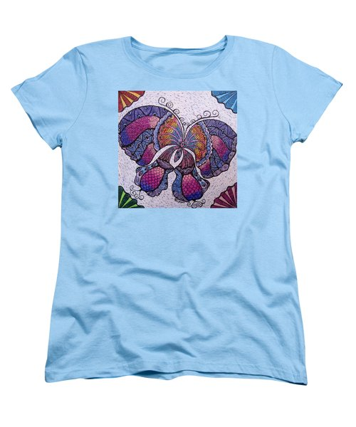 Women's T-Shirt (Standard Cut) featuring the drawing Butterfly Tangle by Megan Walsh