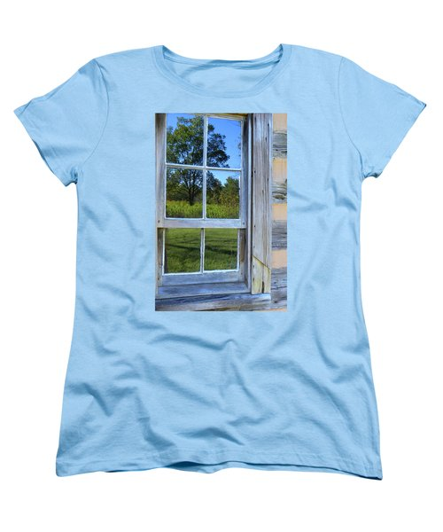 Women's T-Shirt (Standard Cut) featuring the photograph Cabin Reflections by Larry Bishop