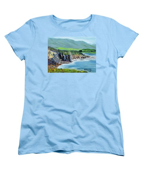 Women's T-Shirt (Standard Cut) featuring the painting Cabot Trail Coastline by Michael Daniels