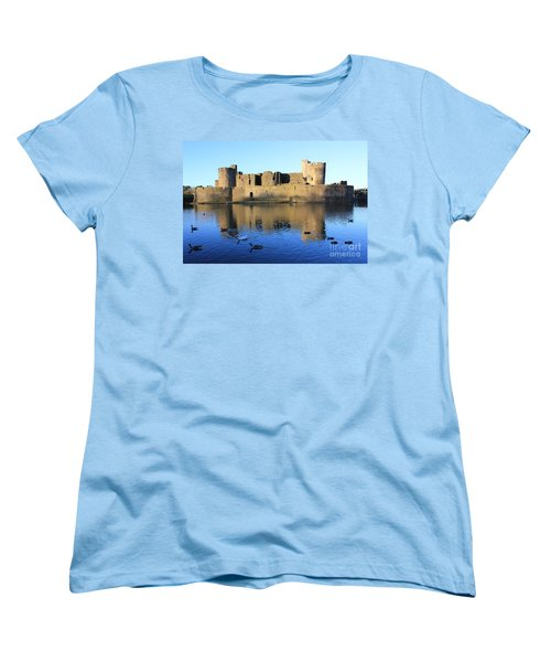 Women's T-Shirt (Standard Cut) featuring the photograph Caerphilly Castle by Vicki Spindler