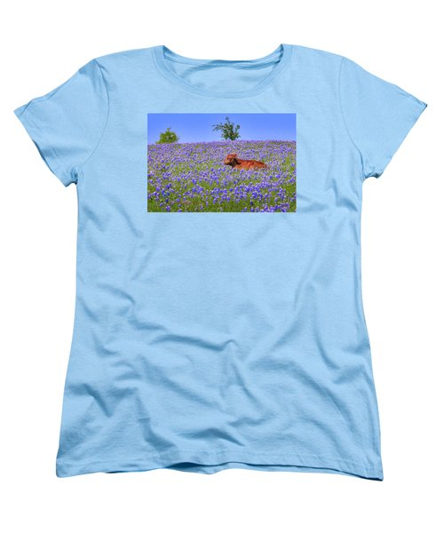 Women's T-Shirt (Standard Cut) featuring the photograph Calf Nestled In Bluebonnets - Texas Wildflowers Landscape Cow by Jon Holiday