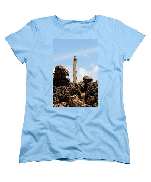 California Lighthouse Aruba Women's T-Shirt (Standard Cut) by DJ Florek