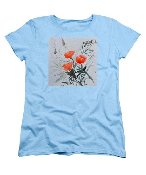 California Poppies Sumi-e Women's T-Shirt (Standard Cut) by Beverley Harper Tinsley