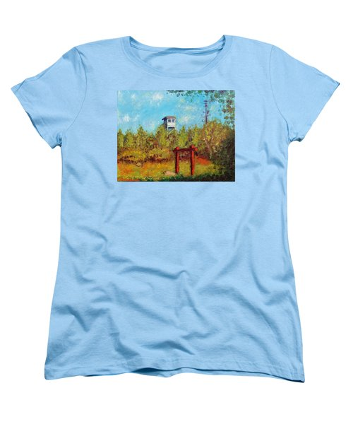Women's T-Shirt (Standard Cut) featuring the painting Camel Top Fire Tower by Jason Williamson