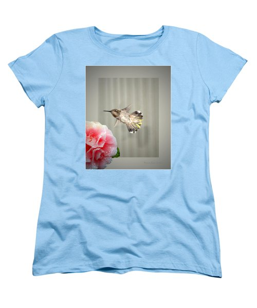Women's T-Shirt (Standard Cut) featuring the photograph Camellia And Hummer by Joyce Dickens