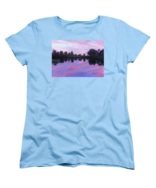 Women's T-Shirt (Standard Cut) featuring the painting Camp Sunset by Lynne Reichhart