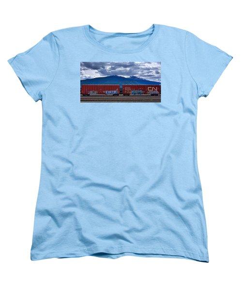 Canadian Freight Train In Jasper Women's T-Shirt (Standard Cut) by Stuart Litoff