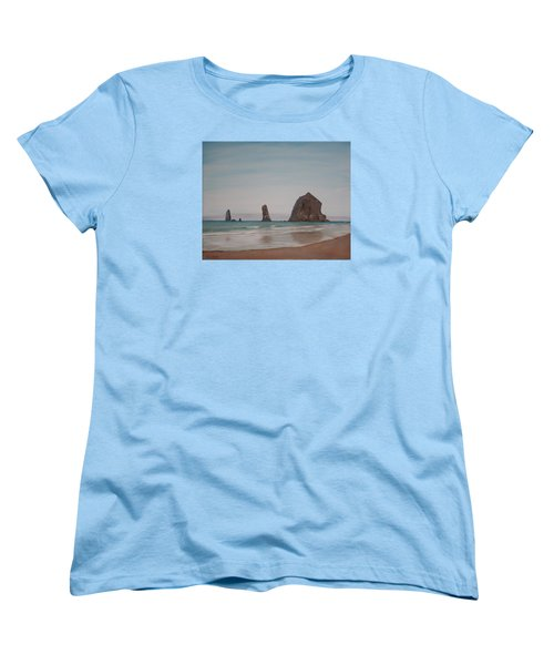 Women's T-Shirt (Standard Cut) featuring the painting Cannon Beach Haystack Rock by Ian Donley