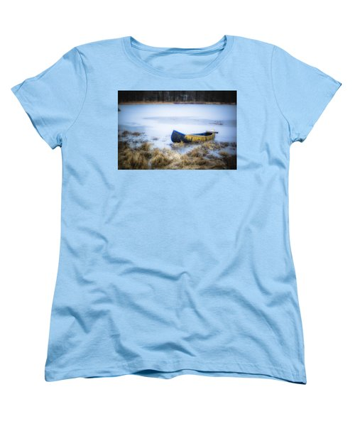 Canoe At The Frozen Lake Women's T-Shirt (Standard Cut)