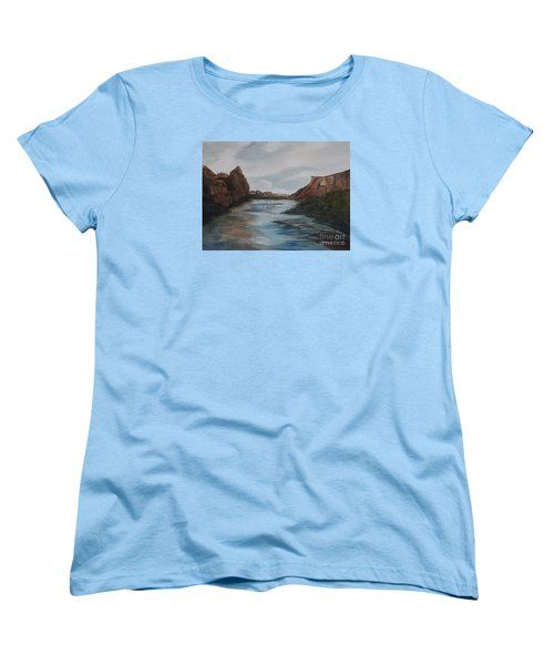 Women's T-Shirt (Standard Cut) featuring the painting Canyon De Chelly by Ellen Levinson