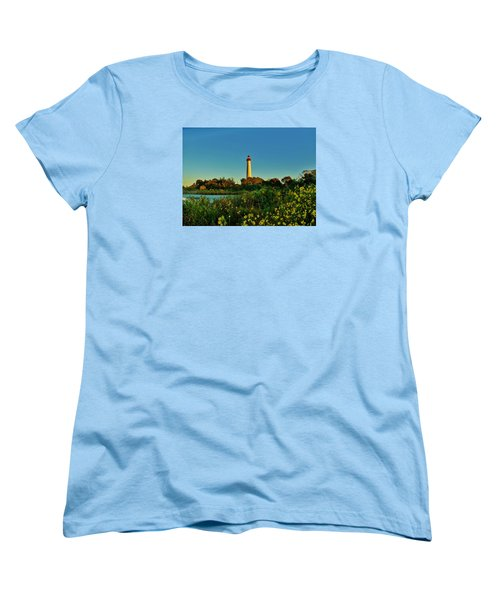 Cape May Lighthouse Above The Flowers Women's T-Shirt (Standard Cut) by Ed Sweeney