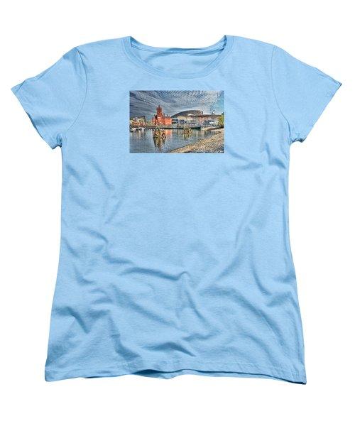 Cardiff Bay Textured Women's T-Shirt (Standard Cut) by Steve Purnell