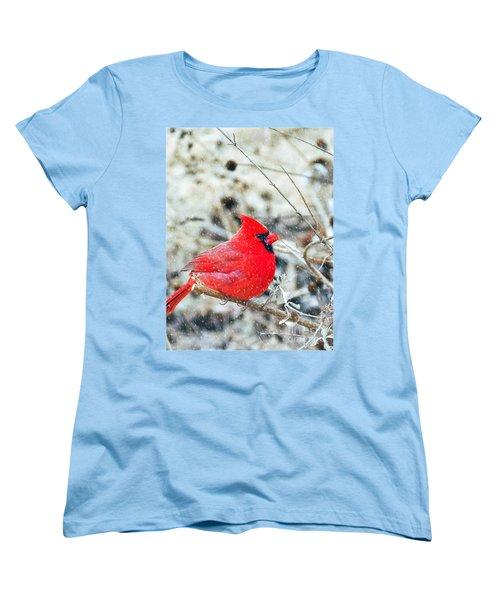 Cardinal Bird Christmas Card Women's T-Shirt (Standard Cut)