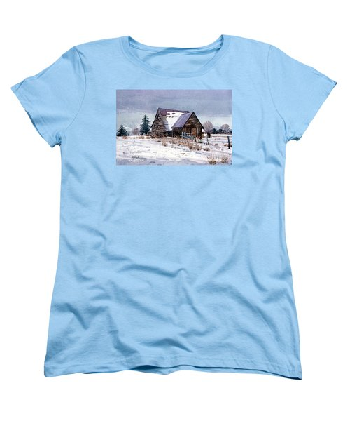Women's T-Shirt (Standard Cut) featuring the painting Cache Valley Barn by Donald Maier
