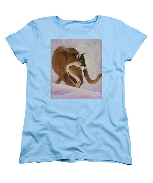 Cat In Snow Women's T-Shirt (Standard Cut) by Christy Saunders Church
