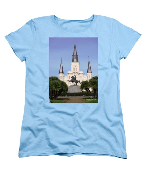 Women's T-Shirt (Standard Cut) featuring the photograph Cathedral In Jackson Square by Alys Caviness-Gober