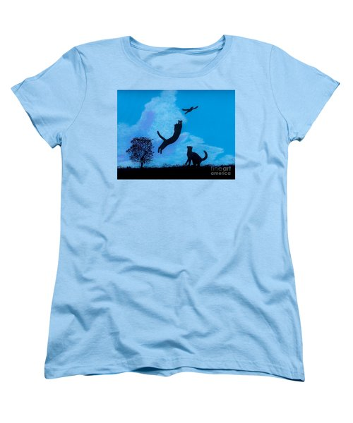 Women's T-Shirt (Standard Cut) featuring the drawing Cats -  Playing by D Hackett