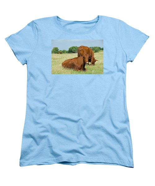 Women's T-Shirt (Standard Cut) featuring the photograph Cattle Grazing In Field by Charles Beeler