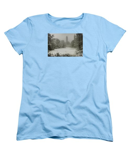 Women's T-Shirt (Standard Cut) featuring the photograph Central Park Snowstorm by Chris Lord