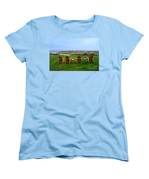 Chairs At The Eighteenth Hole Women's T-Shirt (Standard Cut) by Catherine Sherman