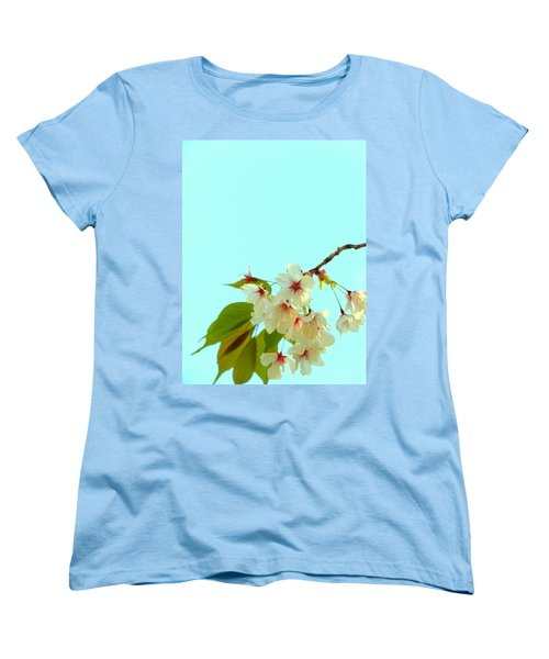Cherry Blossom Flowers Women's T-Shirt (Standard Cut) by Rachel Mirror