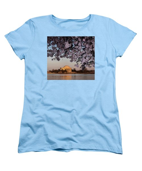 Cherry Blossom Tree With A Memorial Women's T-Shirt (Standard Cut) by Panoramic Images