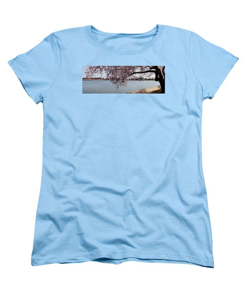 Cherry Blossom Trees With The Jefferson Women's T-Shirt (Standard Cut) by Panoramic Images