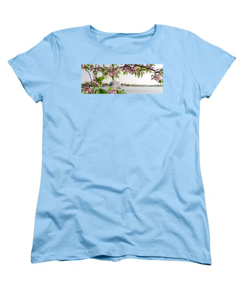 Women's T-Shirt (Standard Cut) featuring the photograph Cherry Blossoms And The Jefferson Memorial Panorama by Mitchell R Grosky