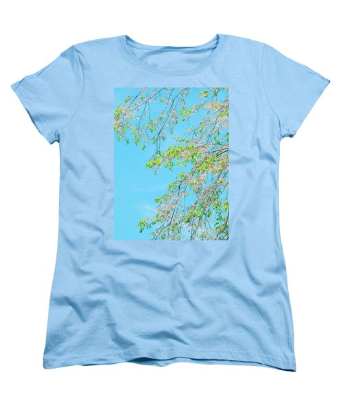 Cherry Blossoms Falling Women's T-Shirt (Standard Cut) by Rachel Mirror