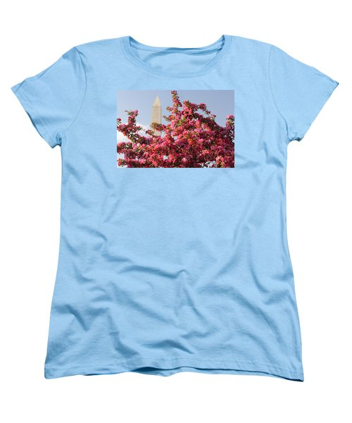 Women's T-Shirt (Standard Cut) featuring the photograph Cherry Trees And Washington Monument 5 by Mitchell R Grosky