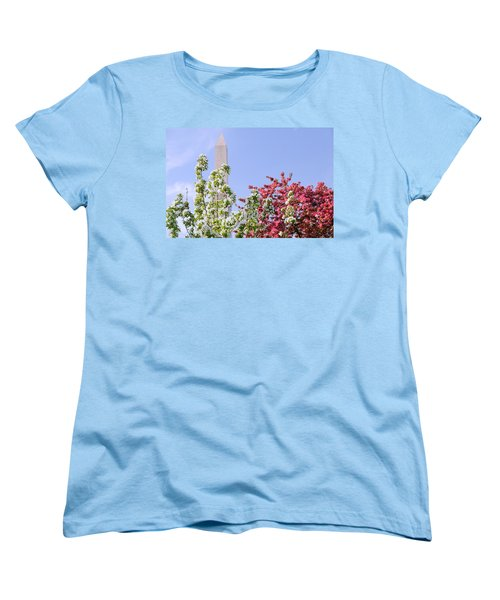 Women's T-Shirt (Standard Cut) featuring the photograph Cherry Trees And Washington Monument Four by Mitchell R Grosky