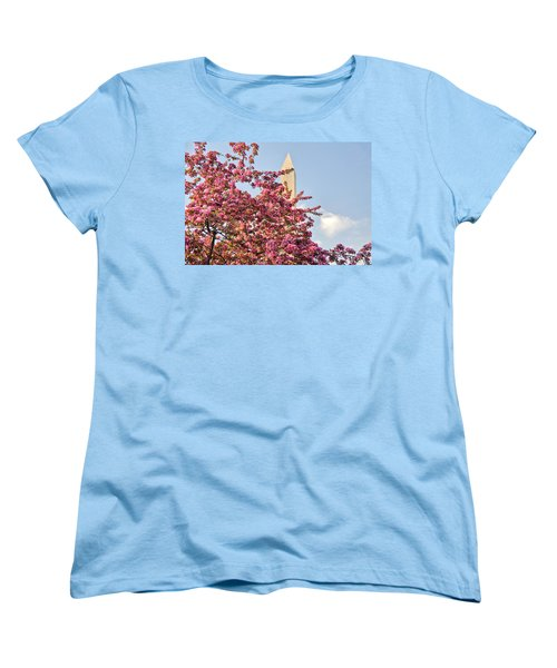 Cherry Trees And Washington Monument One Women's T-Shirt (Standard Cut) by Mitchell R Grosky
