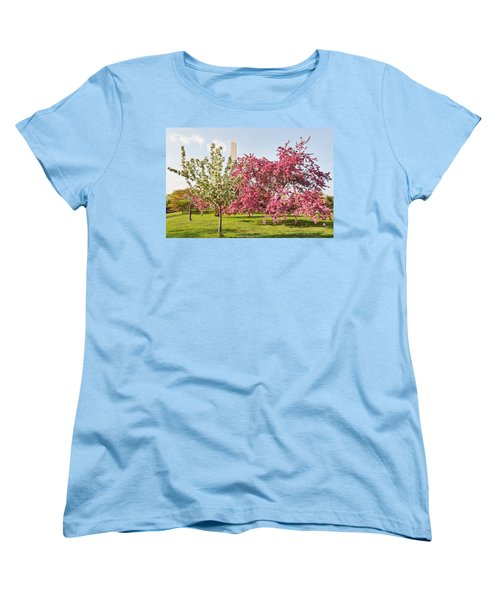 Women's T-Shirt (Standard Cut) featuring the photograph Cherry Trees And Washington Monument Three by Mitchell R Grosky